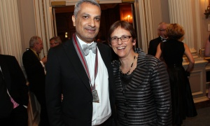 Shaughnessy Cohen Prize winner Kamal Al-Solaylee, author of Brown: What Being Brown in the World Today Means (To Everyone), with Parliamentary Librarian Sonia L'Heureux, at the Politics & the Pen Gala held at the Château Laurier on Wednesday, May 10, 2017. (Photo by Caroline Phillips)