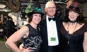 From left, Christina Tessier, director general of the Canada Science and Technology Museum, with retired senior technology executive Greg Mumford, board chair of the Canada Science and Technology Museums Corporation Foundation, and Kerry Leigh Burchill,  director general of the Canada Agriculture and Food Museum, at the Canada Aviation and Space Museum for the National Science and Innovation Gala on Wednesday, May 17, 2017. (Photo by Caroline Phillips)