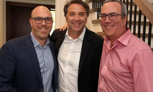 From left, Josh Zaret, vice president of Gemstone Corporation, with well-known construction businessman John Bassi and Jeff Miller, a partner at GGFL tax planning and accounting firm, at the launch of Gemstone Corporation's new office, design centre and showroom at 252 Argyle Avenue, held on Thursday, June 1, 2017. (Photo by Caroline Phillips)