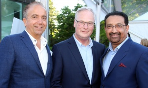 From left, Dr. George Tawagi with Dr. Jack Kitts, president and CEO of The Ottawa Hospital, and Dr. Pradeep Merchant at the Twinkle Gala held at Michael Potter's estate on Thursday, June 8, 2017, in support of the Ottawa Hospital's neonatal intensive care unit at the General campus. (Photo by Caroline Phillips)