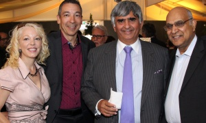Peggy Taillon with lawyer Daniel Fernandes, Bill Malhotra (Claridge Homes) and Anand Aggarwal (Manor Park Development) at the 32nd annual Gold Plate Dinner held at the Hellenic Meeting and Reception Centre on Tuesday, June 13, 2017. (Photo by Caroline Phillips)