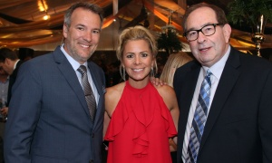 From left, Jeff Hopper and Angie Poirier from Majic 100 with Steve  Klein, founder and CEO of Marketing Breakthroughs, at the Gold Plate Dinner held at the Hellenic Meeting and Reception Centre on Tuesday, June 13, 2017. (Photo by Caroline Phillips)