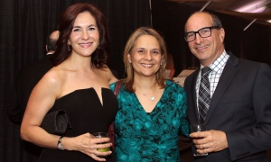 From left, Maria Tsibanoulis with Pinelopi Makrodimitris (Merovitz Potechin) and Ron Prehogan (BrazeauSeller) at the Gold Plate Dinner held at the Hellenic Meeting and Reception Centre on Tuesday, June 13, 2017. (Photo by Caroline Phillips)