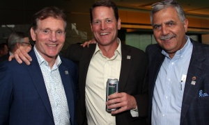 From left, Cyril Leeder, co-founder and former president of the Ottawa Senators, with Windmill Development executive chairman Jeff Westeinde and Paul Hindo,  senior vice president of business development at JLL, at Ringside for Youth XXIII, held at the Shaw Centre on Thursday, June 15, 2017. (Photo by Caroline Phillips)