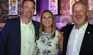 From left, Curt Millar, chief financial officer of InterRent, with CLV Group event coordinator Kaitlyn Elgie and owner Mike McGahan at the Ringside for Youth XXIII dinner and boxing night for the Boys and Girls Club of Ottawa, held Thursday, June 15, 2017. (Photo by Caroline Phillips)