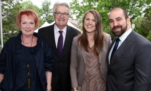 Jim Mckeen from the family-run McKeen Metro Glebe with his wife, Christine, their daughter, Rebecca, and her husband, Michael Ouellette,  at the annual Cornerstone Garden Party & Fashion Show held at the official residence of the German ambassador on Sunday, June 4, 2017. (Photo by Caroline Phillips)