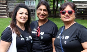 From left, Seema Aurora, president and CEO of Tag HR, with Veena Kumar and Manjula Allan at the Fury for the Heart benefit for the Montfort Hospital, held at Stonefields Event Destination on Sunday, June 25, 2017. (Photo by Caroline Phillips)