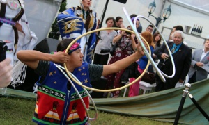 There was live drumming and traditional dancing, including hoop dancing, to open up this year's Ottawa Riverkeeper Gala, held at Lemieux Island on the Ottawa River on Wednesday, May 31, 2017. (Photo by Caroline Phillips)