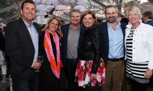 From left, Andy Edmondson, Julie Taggart, Scott Parkes, Tracy Rait-Parkes, Jeff Parkes and Gillian Rowan-Legg from the Taggart-Parkes Foundation at the Ottawa Riverkeeper Gala held Wednesday, May 31, 2017. (Photo by Caroline Phillips)