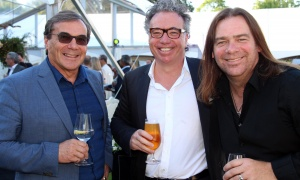 From left, Graham Bird, president at GBA Development and Project Management, with Dennis Laurin, owner of the Laurin Group, and Canadian singer-songwriter Alan Doyle at the Twinkle Gala held Thursday, June 8, 2017, at Michael Potter's Rockcliffe Park estate. (Photo by Caroline Phillips)