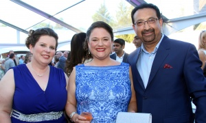 From left, Dr. Jo Ann Harrold, Dr. Sarah Lawrence and Dr. Pradeep Merchant at the Twinkle Gala held Thursday, June 8, 2017, at Michael Potter's Rockcliffe Park estate. (Photo by Caroline Phillips)