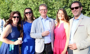 From left, Sarah Goldfeder, principal at Earnscliffe Strategy Group, with Courtney Lockhart,  research analyst with Tactix, Mark Fisher, CEO of the Council of the Great Lakes, Joanne Pitkin, ‎senior consultant at FleishmanHillard, and Patrick Kennedy, principal at Earnscliffe Strategy Group, at the U.S. Embassy's Fourth of July Celebration, held Tuesday, July 4, 2017. (Photo by Caroline Phillips)