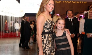 Honourary chair Sophie Grégoire Trudeau, wearing a Zarucci gown by Ottawa's Nora Zabarah Pucci, and her daughter, Ella-Grace, arrive to the newly renovated NAC on Saturday, September 16, 2017, for the NAC Gala. Photo by Caroline Phillips
