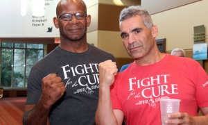 From left, Jim Carty and his competitor Kammal Tannis, prior to their matchup at the Fight for the Cure charity boxing gala, held at the Hilton Lac-Leamy on Saturday, September 23, 2017. Photo by Caroline Phillips