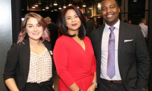 From left, Emond Harnden staff Emily Lupiano and Charlene Pineda with Emond Harnden student Patrick Twagirayezu at the law firm's 30 Year Celebration, held at the Horticulture Building at Lansdowne on Thursday, September 28, 2017. Photo by Caroline Phillips