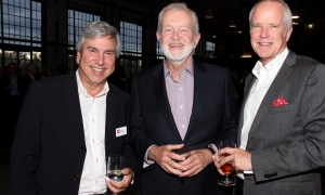 From left, Emond Harnden partner George Rontiris with Brian Scott, president at Smith Petrie Carr & Scott Insurance Brokers, and Peter Froislie,  project manager with Brookfield, at Emond Harnden's 30 Year Celebration, held at the Horticulture Building at Lansdowne on Thursday, September 28, 2017. Photo by Caroline Phillips