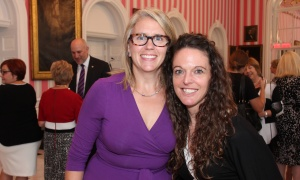 From left, Colleen O'Connell-Campbell, a founding member of the Royal's Women For Mental Health initiative and a board member with the Royal Ottawa Foundation for Mental Health, with its new director of communications and donor marketing, Andrea MacLean, at a reception held at Rideau Hall on Wednesday, September 20, 2017. Photo by Caroline Phillips