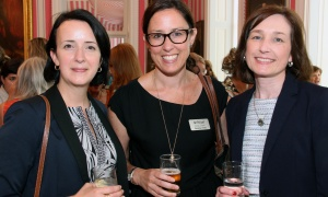 From left, Teresa Marques, director of strategic partnerships at the Rideau Hall Foundation, with Christine Hardy from the Royal Ottawa Foundation for Mental Health, and Mariette MacIsaac,  manager of the Trinity Development Foundation, at Rideau Hall on Wednesday, September 20, 2017, for a reception for Women For Mental Health. Photo by Caroline Phillips