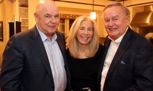 From left, tech entrepreneur Larry O'Brien with developers Micheline McElligott and Bob McElligott, from Brickland Timberlay Corporation, at a private reception hosted Wednesday, October 25, 2017, by The Foundation WCPD in honour of its 30 years in business. Photo by Caroline Phillips.