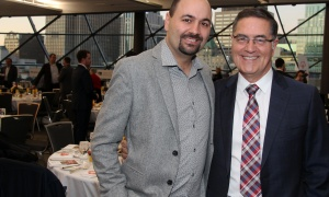 Pat Santini, partner at Kelly Santini LLP, with his son, Adam, at the 13th Annual Special Olympics Festival Breakfast, held at the Shaw Centre on Friday, October 20, 2017. Photo by Caroline Phillips