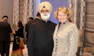 Manjit Sandhu with Kanata-Carleton Liberal MP Karen McCrimmon at the Infinity Convention Centre on Friday, October 13, 2017, for NetIP Canada's 7th Diwali & Awards Gala. Photo by Caroline Phillips