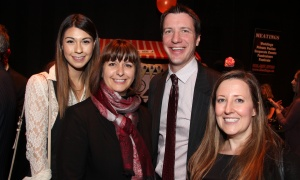 From left, Monica Granados with her mom, Ottawa-Orléans Liberal MPP Marie-France Lalonde, and lawyer Jonathan Richardson (Augustine Bater Binks) and Dr. Leyana Saville at the AOE Arts Council's annual Artinis benefit soiree, held at the Shenkman Arts Centre on Thursday, October 26, 2017. Photo by Caroline Phillips