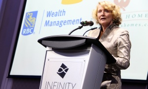 Kanata-Carleton Liberal MP Karen McCrimmon makes brief remarks on stage  at NetIP Canada's 7th Diwali & Awards Gala, held at the Infinity Convention Centre on Friday, October 13, 2017. Photo by Caroline Phillips