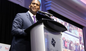 Ottawa CBC News anchor Adrian Harewood co-emceed NetIP Canada's 7th Diwali & Awards Gala, held at the Infinity Convention Centre on Friday, October 13, 2017. Photo by Caroline Phillips