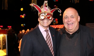 From left, lawyer David Bertschi with Doug Feltmate, managing partner of St. Martha's Hospitality Group, at the AOE Arts Council's carnival-themed Artinis benefit soiree, held at the Shenkman Arts Centre on Thursday, October 26, 2017. Photo by Caroline Phillips