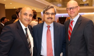 From left, gala honourary co-chair Raj Narula, founder and CEO of InCa Synergies, with Hall of Fame Inductee and Canada Post president and CEO Deepak Chopra and its director of stakeholder relations and public affairs, Dave Penner, at NetIP Canada's 7th Diwali & Awards Gala, held at the Infinity Convention Centre on Friday, October 13, 2017. Photo by Caroline Phillips