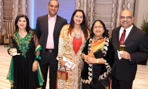 From left, Madhu Kochar with Pamila Bhatia and Rajiv Bhatia, with platinum sponsor Phoenix Homes, along with Nita Goel and Nishith Goel, CEO of Cistel, at the Infinity Convention Centre on Friday, October 13, 2017, for  NetIP Canada's 7th Diwali & Awards Gala. Photo by Caroline Phillips