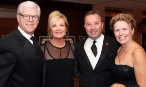 From left, Marc Jolicoeur, partner with Borden Ladner Gervais (BLG) and his wife, Kathleen  Faulkner, and Frank Bilodeau, district vice president at Scotiabank, with his wife, Steffanie Bilodeau, at The Ottawa Hospital Gala held at The Westin Ottawa on Saturday, October 28, 2017.