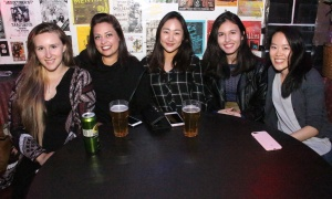 From left, University of Ottawa law students Maggie Osborne, Alaina Woolfrey, Kristine Kim, Ceviel Alizadeh-Najmi and Caroline Yao at Babylon Nightclub on Friday, Septemer 29, 2017, for the Rockable Hours charity concert for the Ottawa Food Bank. Photo by Caroline Phillips
