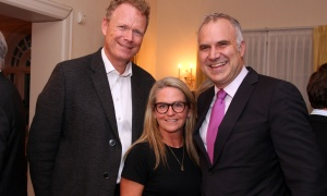 From left, real estate agent Rob Marland and his wife, Jane Forsyth, both from Royal LePage, with Rideau-Rockcliffe Ward Coun. Tobi Nussbaum at a reception hosted by the Austrian ambassador at his official residence in Rockcliffe on Wednesday, October 18, 2017, for patrons of the upcoming Viennese Winter Ball. Photo by Caroline Phillips