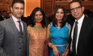 From left, Raj Anand and his wife, Renu Anand, with Navita Sondhi and her husband, Rakesh Sondhi, bank manager with Scotiabank, at the Dhadkan 2017: Midas Touch fundraiser for the Ottawa Regional Cancer Foundation, hosted by and at the Infinity Convention Centre on Friday, November 17, 2017. Photo by Caroline Phillips