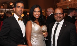 From left, Mahesh Mani, partner with KPMG, with his wife, Deepali, with Sid Kumar, president of NetIP Canada and provincial Liberal nomination candidate for Kanata-Carleton, at the Dhadkan 2017: Midas Touch fundraiser for the Ottawa Regional Cancer Foundation, hosted by and at the Infinity Convention Centre on Friday, November 17, 2017. Photo by Caroline Phillips