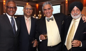From left, Dr. Shailendra Verma with Anand Aggarwal, Bill Malhotra and Harry Sohal at the Dhadkan 2017: Midas Touch dinner for the Ottawa Regional Cancer Foundation, held at the Ottawa Infinity Convention Centre on Friday, November 17, 2017. Photo by Caroline Phillips