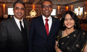 From left, Jack Uppal from Royal LePage Team Realty with Chandra Arya, Liberal MP for Nepean, and his wife, Sangeetha, at the Dhadkan 2017: Midas Touch fundraiser for the Ottawa Regional Cancer Foundation, hosted by and at the Infinity Convention Centre on Friday, November 17, 2017. Photo by Caroline Phillips