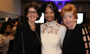 From left, retired senator Marjory LeBreton with Betty Hope Gittens and LeBreton's sister, Kay Stanley, at the Black Tie Bingo fundraiser for the Eldercare Foundation of Ottawa and the OutCare Foundation, held Saturday, November 18, 2017. Photo by Caroline Phillips