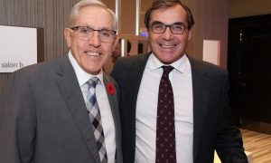 Former Negev Dinner honoureer Bob Chiarelli (1999) and MPP for Ottawa West-Nepean, with Graham Bird,  president of GBA, at the 2017 Negev Dinner held at the Infinity Convention Centre on Monday, November 6, 2017. Photo by Caroline Phillips