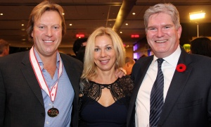 From left, Bob Sudermann, owner of Mont Ste. Marie ski resort, with Dabrowka Farah and Patrick Murray,  a lawyer with McMillan LLP,  at the 2017 Gold Medal Plates Ottawa gala held at the Shaw Centre on Thursday, November 9, 2017. Photo by Caroline Phillips