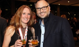 From left, Amanda Gordon, vice president with Stratford Managers, with Jason Flick, co-founder and CEO of You.i TV  at the 2017 Gold Medal Plates Ottawa gala held at the Shaw Centre on Thursday, November 9, 2017. Photo by Caroline Phillips
