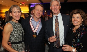 From left, Heather Linton and Bruce Linton, chairman, CEO and co-founder of Canopy Growth, with Steve Spooner, CFO at Mitel, and his wife, Donna, at the 2017 Gold Medal Plates Ottawa gala held at the Shaw Centre on Thursday, November 9, 2017. Photo by Caroline Phillips