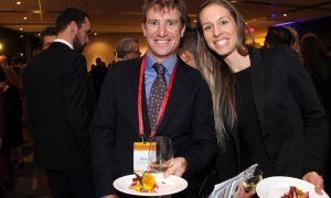 Former Olympic freestyle skier Jeff Bean with Elena Bales at the 2017 Gold Medal Plates Ottawa gala held at the Shaw Centre on Thursday, November 9, 2017. Photo by Caroline Phillips