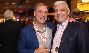 From left, Michael Scrivens, from Scrivens Insurance and Investment Solutions, with Charles Saikaley, a real estate lawyer at Perley-Robertson, Hill & McDougall, at the 2017 Gold Medal Plates Ottawa gala held at the Shaw Centre on Thursday, November 9, 2017. Photo by Caroline Phillips