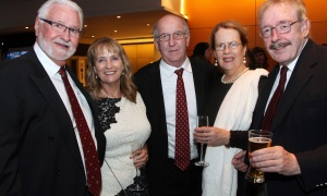"Philip O'Brien and Rosemary O'Brien with Pat Kelly, co-owner of Bradley Kelly Construction, and Patricia Bassett and Ray Bassett, former Irish ambassador to Canada, at Habitat for Humanity Greater Ottawa's Steel Toes and Stilettos ""Full Moon"" Gala, held at the Shaw Centre on Saturday, November 4, 2017. Photo by Caroline Phillips"