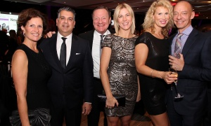 "From left, Sandra Goldberg, Gary Zed, John Jussup, Liza Mrak, co-owner of Mark Motors, along with Kate Laird and Sean McCann at Habitat for Humanity Greater Ottawa's Steel Toes and Stilettos ""Full Moon"" Gala, held at the Shaw Centre on Saturday, November 4, 2017. Photo by Caroline Phillips"