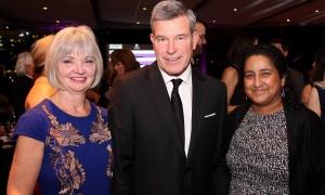 From left, Carol Devenny, office managing partner at PwC, with her husband, Grant McDonald, office managing partner at KPMG, and Janice Menezes at the Habitat for Humanity Greater Ottawa's Steel Toes & Stilettos gala, held at the Shaw Centre on Saturday, November 4, 2017. Photo by Caroline Phillips