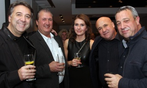From left, John Bassi, president of Bassi Construction, with Dominic Micucci from Stellar Ceramics, Christina Ellis with RBC Wealth Management, John Russo from Dynasty Flooring and real estate developer Rick Iafelice at the 7th Annual Share Party, held at Andaz hotel in the ByWard Market on Friday, November 3, 2017, in support of Habitat for Humanity. Photo by Caroline Phillips