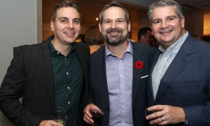 From left, Simon Taggart with Jeff Parkes and Scott Parkes, from the Taggart Group of Companies, at the 7th Annual Share Party, held at Andaz hotel in the ByWard Market on Friday, November 3, 2017, in support of Habitat for Humanity Greater Ottawa. Photo by Caroline Phillips